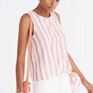 Madewell red white striped side tie cotton tank L